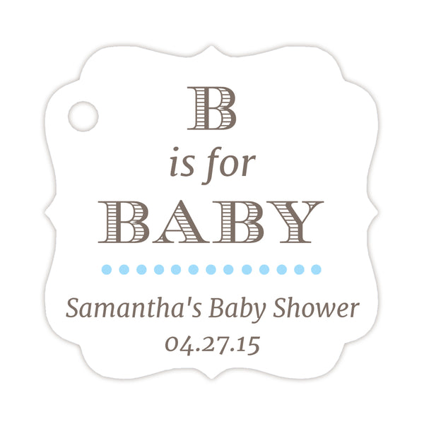 B is for baby tags - Sky blue - Dazzling Daisies