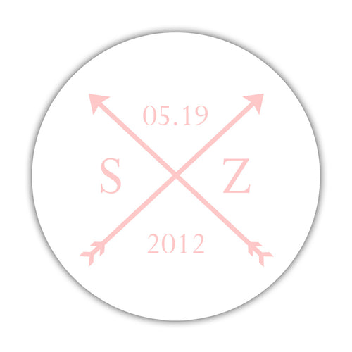 "Arrow wedding stickers - 1.5"" circle = 30 labels per sheet / Blush - Dazzling Daisies"