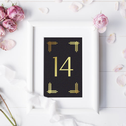 Art deco table numbers foil - 1-6 / Gold foil - Dazzling Daisies