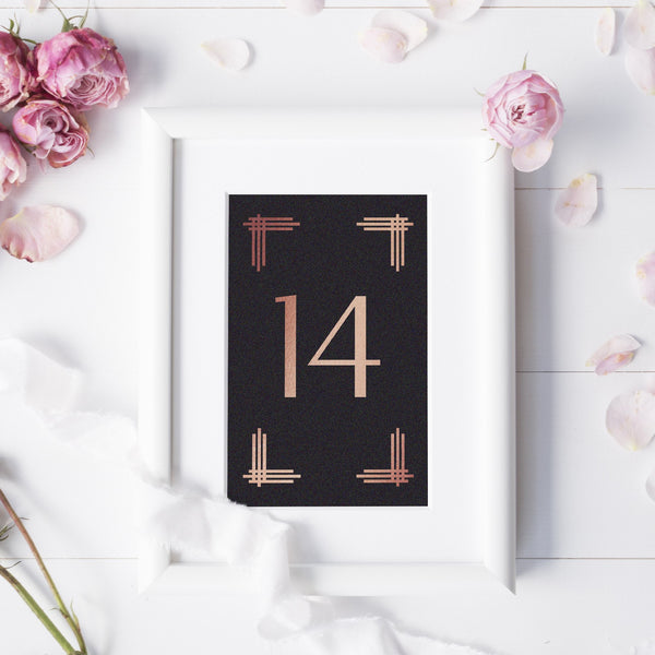 Art deco table numbers foil - 1-6 / Rose gold foil - Dazzling Daisies