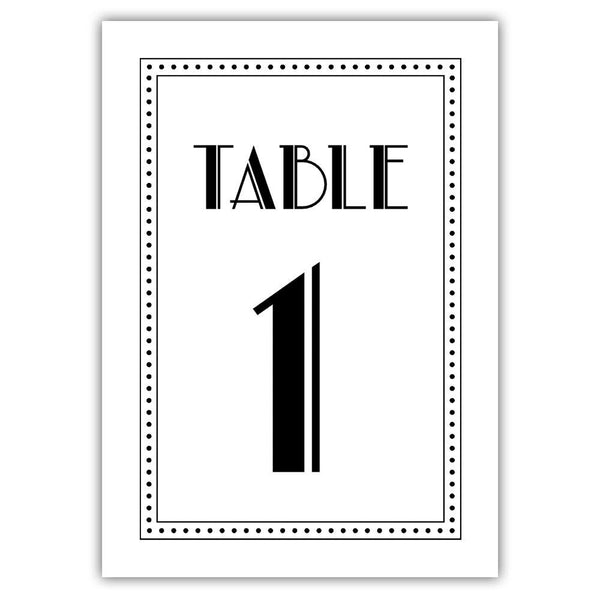 Art deco table numbers - 1-6 / Black - Dazzling Daisies