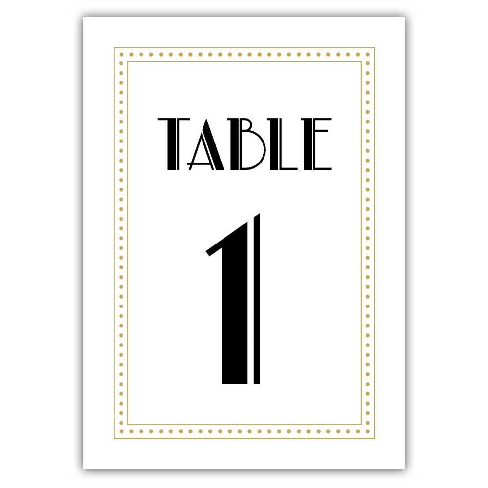 Art deco table numbers - 1-6 / Indian red - Dazzling Daisies
