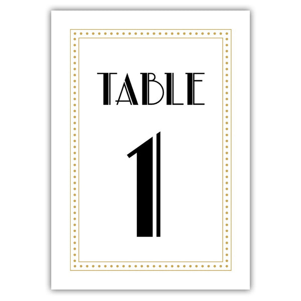 Art deco table numbers - 1-6 / Gold - Dazzling Daisies