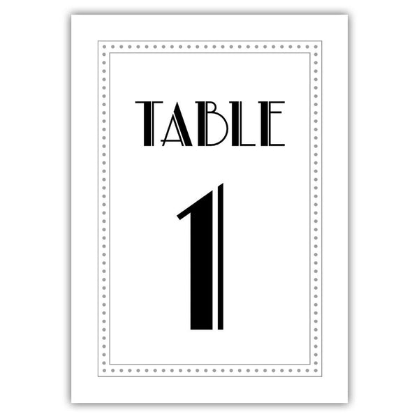 Art deco table numbers - 1-6 / Silver - Dazzling Daisies