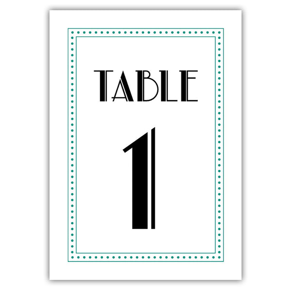 Art deco table numbers - 1-6 / Teal - Dazzling Daisies