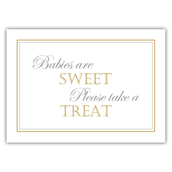 "Babies are sweet sign - 5x7"" / Gold - Dazzling Daisies"