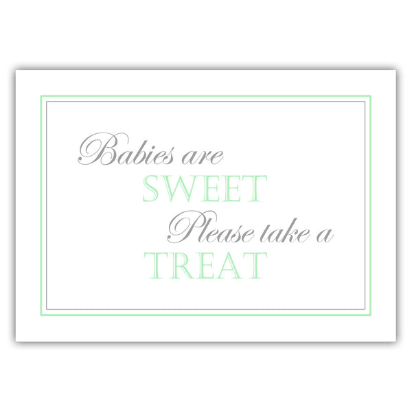 "Babies are sweet sign - 5x7"" / Mint - Dazzling Daisies"
