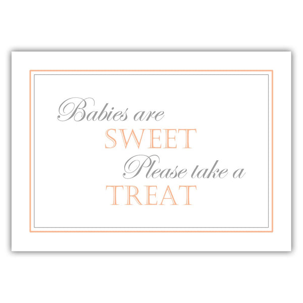 "Babies are sweet sign - 5x7"" / Peach - Dazzling Daisies"