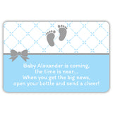 Mini champagne bottle labels 'Baby is coming' - Baby blue - Dazzling Daisies