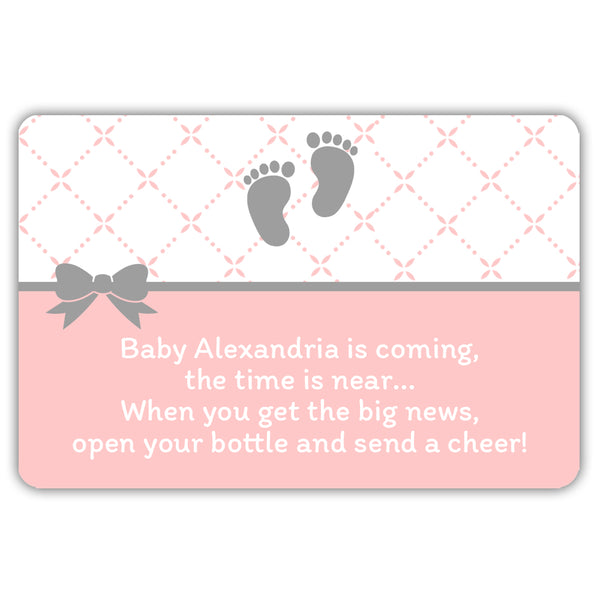 Mini champagne bottle labels 'Baby is coming' - Blush - Dazzling Daisies