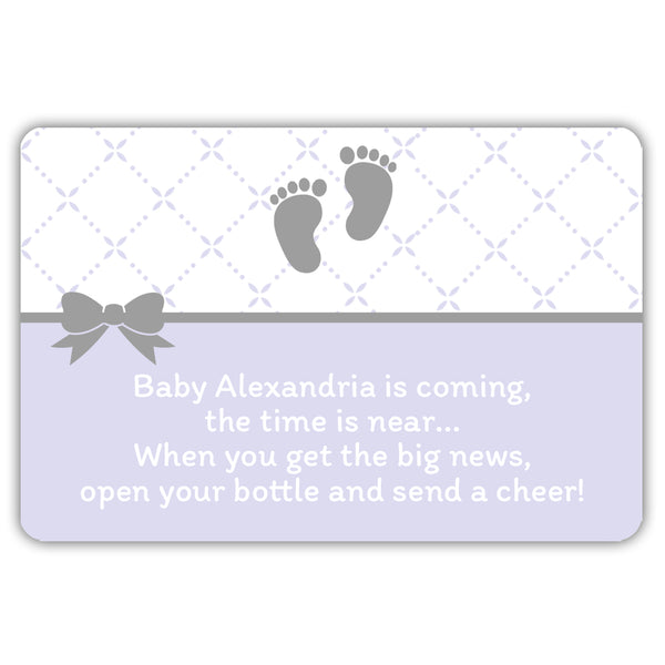 Mini champagne bottle labels 'Baby is coming' - Lavender - Dazzling Daisies