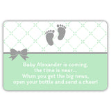 Mini champagne bottle labels 'Baby is coming' - Mint - Dazzling Daisies