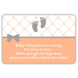 Mini champagne bottle labels 'Baby is coming' - Peach - Dazzling Daisies