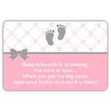 Mini champagne bottle labels 'Baby is coming' - Pink - Dazzling Daisies