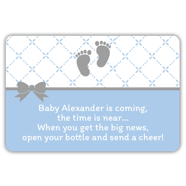 Mini champagne bottle labels 'Baby is coming' - Steel blue - Dazzling Daisies