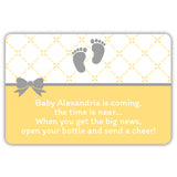 Mini champagne bottle labels 'Baby is coming' - Sunrise - Dazzling Daisies