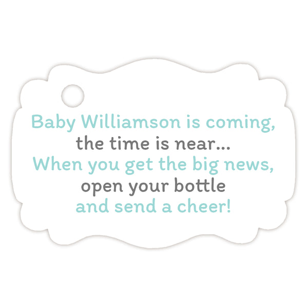 Baby shower champagne bottle tags - Gray/Aquamarine - Dazzling Daisies