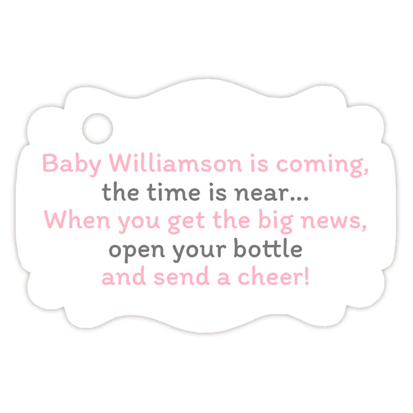Baby shower champagne bottle tags - Gray/Pink - Dazzling Daisies