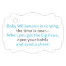 Baby shower champagne bottle tags - Gray/Sky blue - Dazzling Daisies