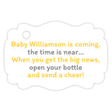 Baby shower champagne bottle tags - Gray/Yellow - Dazzling Daisies