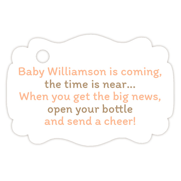 Baby shower champagne bottle tags - Sand/Peach - Dazzling Daisies