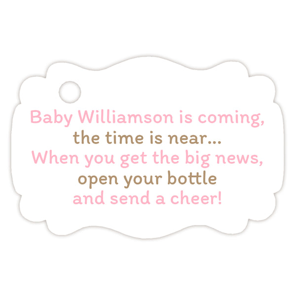 Baby shower champagne bottle tags - Sand/Pink - Dazzling Daisies