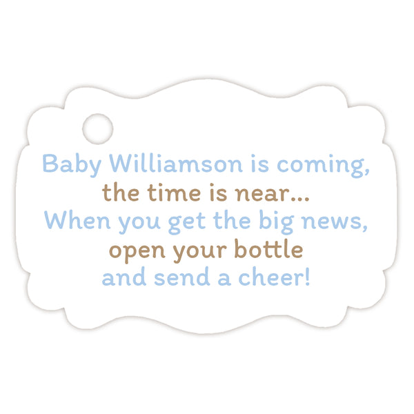 Baby shower champagne bottle tags - Sand/Steel blue - Dazzling Daisies
