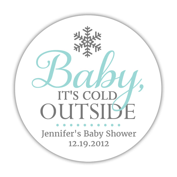 "Baby it's cold outside baby shower stickers - 1.5"" circle = 30 labels per sheet / Aquamarine - Dazzling Daisies"