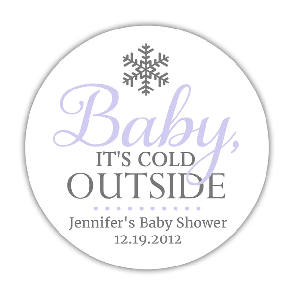 "Baby it's cold outside baby shower stickers - 1.5"" circle = 30 labels per sheet / Lavender - Dazzling Daisies"