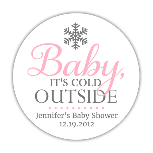 "Baby it's cold outside baby shower stickers - 1.5"" circle = 30 labels per sheet / Pink - Dazzling Daisies"