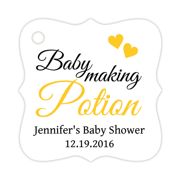 Baby making potion tags - Yellow - Dazzling Daisies