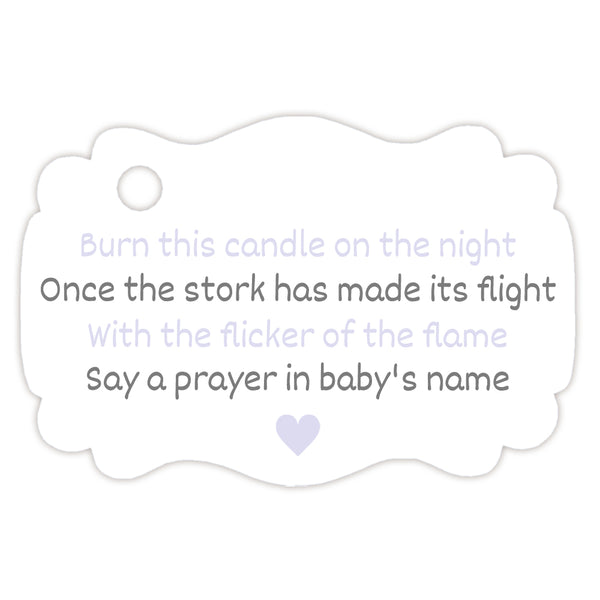 Baby shower candle tags - Gray/Lavender - Dazzling Daisies