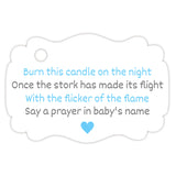 Baby shower candle tags - Gray/Sky blue - Dazzling Daisies
