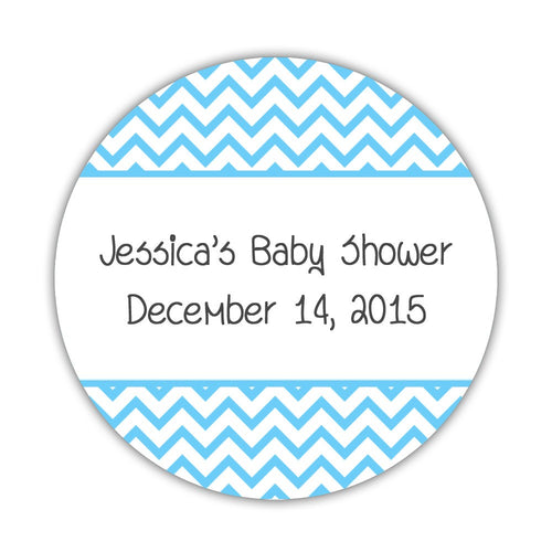 "Favor stickers 'Chevron Pattern' - 1.5"" circle = 30 labels per sheet / Sky blue - Dazzling Daisies"