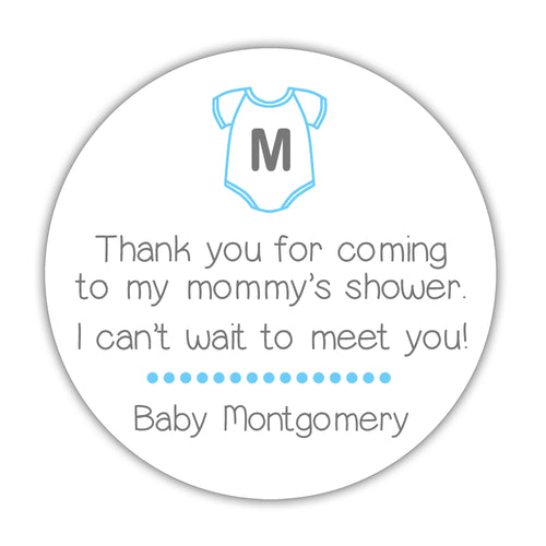 "Onesie baby shower stickers - 1.5"" circle = 30 labels per sheet / Sky blue - Dazzling Daisies"
