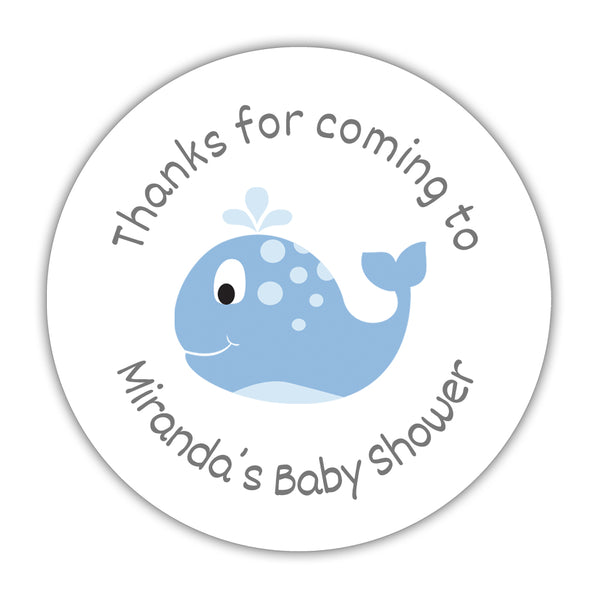 "'Whale' baby shower stickers - 1.5"" circle = 30 labels per sheet / Steel blue - Dazzling Daisies"