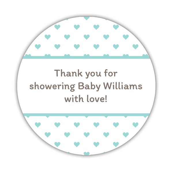 "Baby shower stickers 'Mini Hearts' - 1.5"" circle = 30 labels per sheet / Aquamarine - Dazzling Daisies"