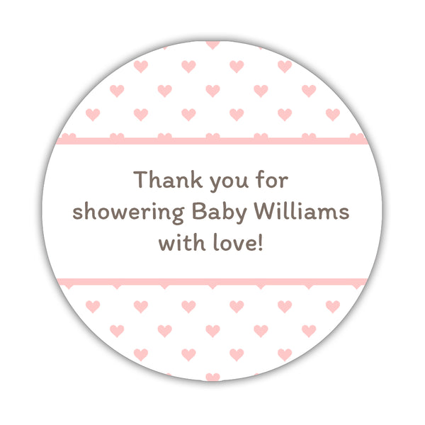 "Baby shower stickers 'Mini Hearts' - 1.5"" circle = 30 labels per sheet / Blush - Dazzling Daisies"