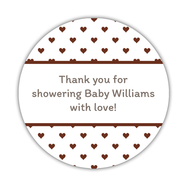 "Baby shower stickers 'Mini Hearts' - 1.5"" circle = 30 labels per sheet / Chocolate - Dazzling Daisies"