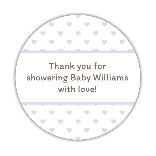 "Baby shower stickers 'Mini Hearts' - 1.5"" circle = 30 labels per sheet / Lavender - Dazzling Daisies"
