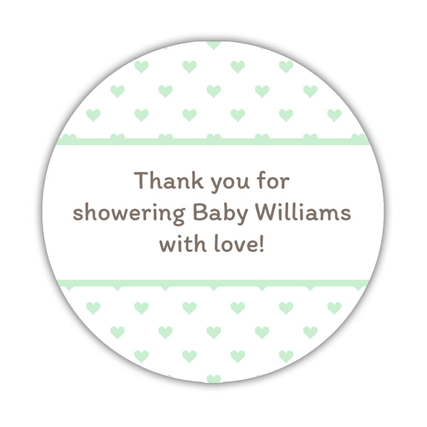 "Baby shower stickers 'Mini Hearts' - 1.5"" circle = 30 labels per sheet / Mint - Dazzling Daisies"