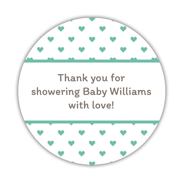 "Baby shower stickers 'Mini Hearts' - 1.5"" circle = 30 labels per sheet / Ocean - Dazzling Daisies"
