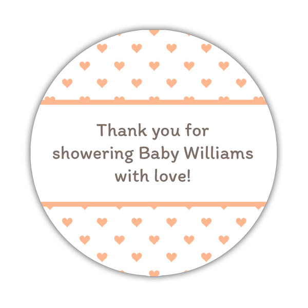 "Baby shower stickers 'Mini Hearts' - 1.5"" circle = 30 labels per sheet / Peach - Dazzling Daisies"