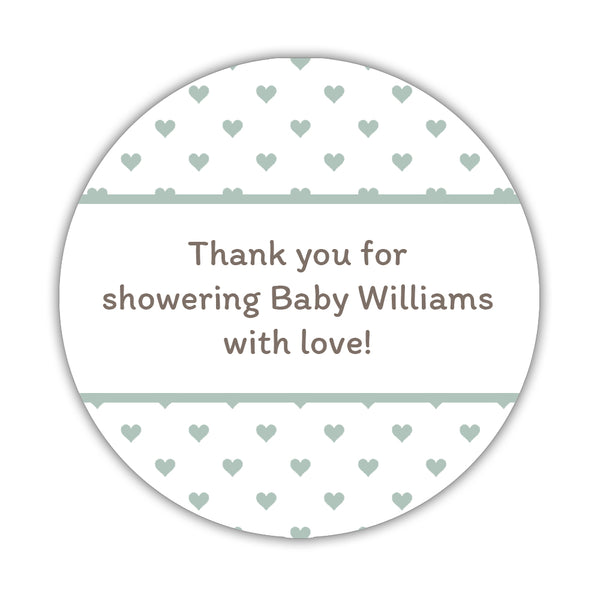 "Baby shower stickers 'Mini Hearts' - 1.5"" circle = 30 labels per sheet / Sage - Dazzling Daisies"