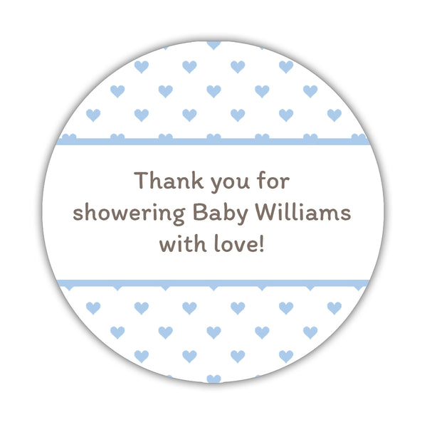 "Baby shower stickers 'Mini Hearts' - 1.5"" circle = 30 labels per sheet / Steel blue - Dazzling Daisies"