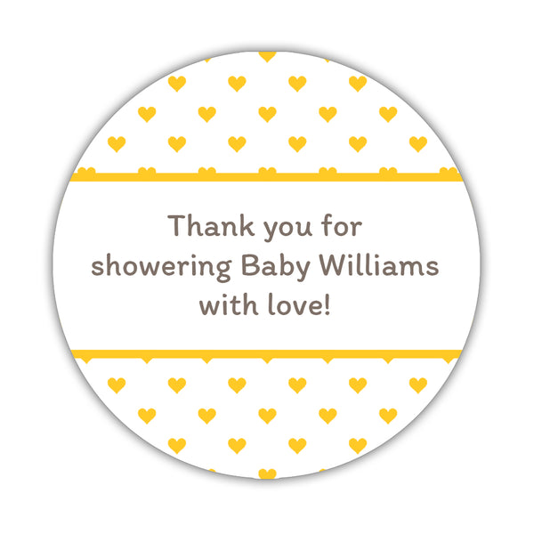 "Baby shower stickers 'Mini Hearts' - 1.5"" circle = 30 labels per sheet / Yellow - Dazzling Daisies"