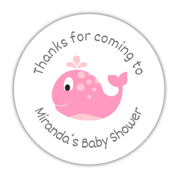 "'Whale' baby shower stickers - 1.5"" circle = 30 labels per sheet / Pink - Dazzling Daisies"