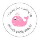 "Whale baby shower stickers - 1.5"" circle = 30 labels per sheet / Pink - Dazzling Daisies"
