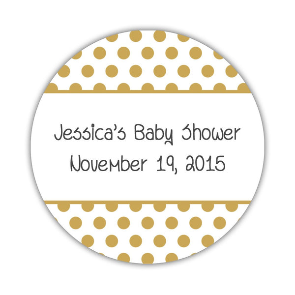 "Favor stickers 'Bold Polka Dots' - 1.5"" circle = 30 labels per sheet / Gold - Dazzling Daisies"