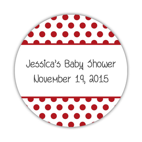 "Favor stickers 'Bold Polka Dots' - 1.5"" circle = 30 labels per sheet / Indian red - Dazzling Daisies"